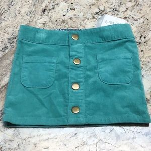 Carters turquoise front button corduroy skirt
